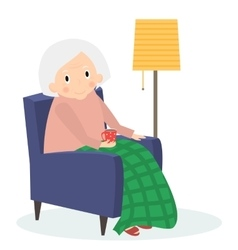 Grandmother sitting in armchair old woman leisure vector