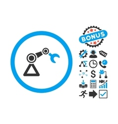 Artificial manipulator flat icon with bonus vector