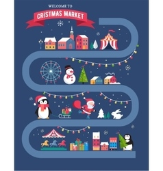 Christmas village  Christmas market Xmas fair vector image