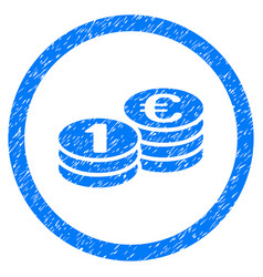 Euro coin columns rounded icon rubber stamp vector