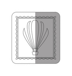 sticker contour frame of hot air balloon vector image
