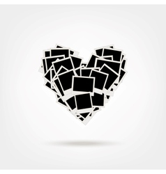 Polaroid heart shape photos vector