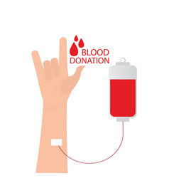 I love you language hand sign with blood donation vector