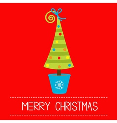 Christmas tree in pot merry christmas card vector