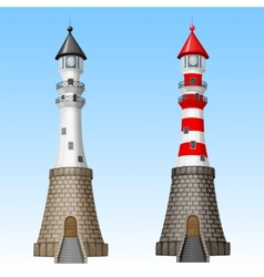White and red lighthouses vector