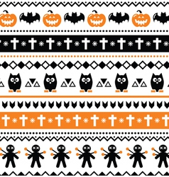 Halloween seamless pattern - pumpkin ghost vector