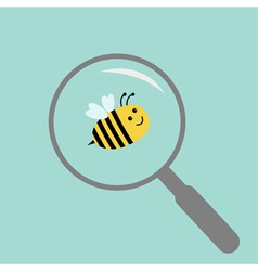 Bee under magnifier zoom lense flat design vector
