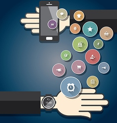 Smartwatch with Colorful Ecommerce Icons vector image