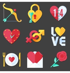 Flat love icons vector
