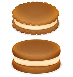 Sandwich cookies with cream vector