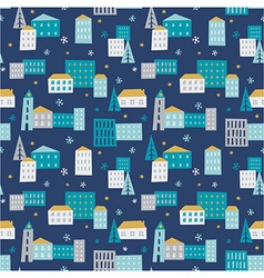 Winter town - seamless pattern vector