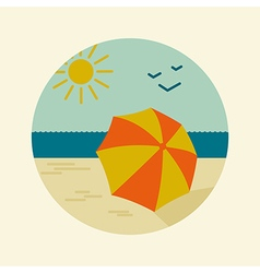 Beach parasol icon summer sand sun sea vector