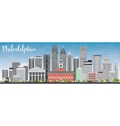 Philadelphia Skyline with Gray Buildings vector image