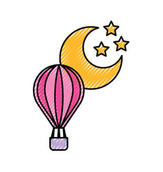 balloon air hot with moon vector image