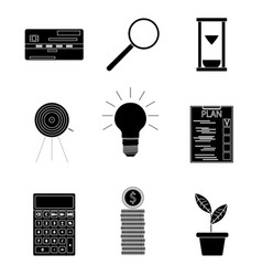 black silhouette business icons vector image vector image