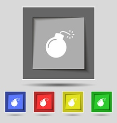 Bomb icon sign on original five colored buttons vector