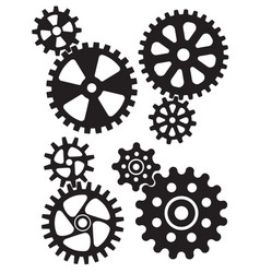 cogs and gears interlocking design vector image vector image