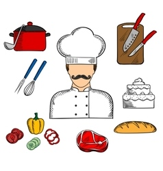 Cook or chef with food and kitchenware vector