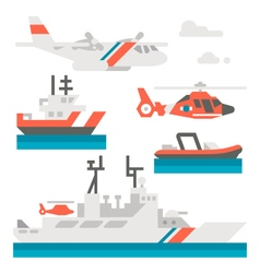 Flat design coast guard vehicle vector image vector image