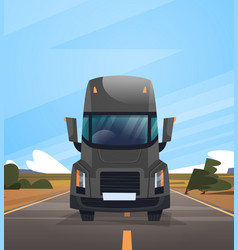 front view of cargo truck trailer driving on vector image vector image