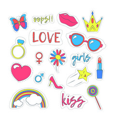 Girl patches sticker color set vector