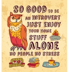 Happy introvert concept art color sign vector image
