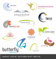icons animals and nature vector image