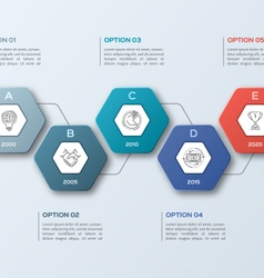Infographic template with hexagons 5 options vector