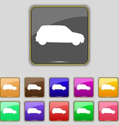 Jeep icon sign Set with eleven colored buttons for vector image