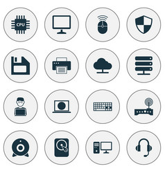Laptop icons set collection of hdd earphone vector