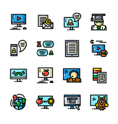 Line online training icons vector