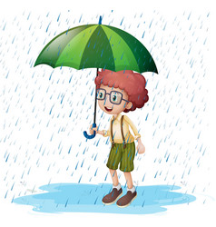 little boy standing in rain vector image