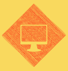 monitor with brush sign red scribble icon vector image vector image