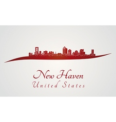 New haven skyline in red vector