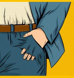 pocket hole pop art vector image vector image