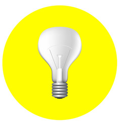 Realistic light bulb on yellow vector