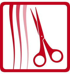 red scissors and hair hair care icon vector image vector image