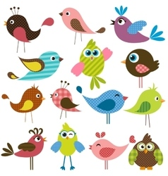 set of cute birds vector image vector image