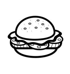 Silhouette delicious hamburger fast food icon vector