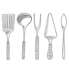 spatula for hot caviar and dessert fork for vector image vector image