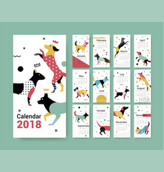 template calendar 2017 with a dog in memphis style vector image vector image