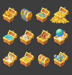 Treasure Chests Isometric Cartoon Set vector image vector image