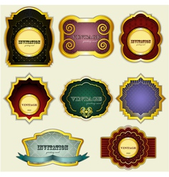vintage gold labels set - vector image vector image