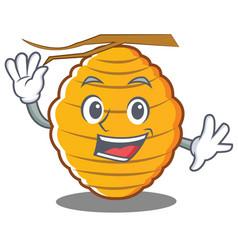 Waving bee hive character cartoon vector
