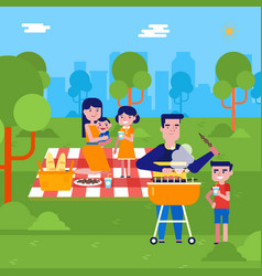young caucasian family having a picnic in the park vector image