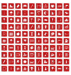 100 drawing icons set grunge red vector
