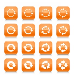 Orange arrow reset sign square icon web button vector