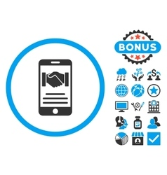 Mobile agreement flat icon with bonus vector