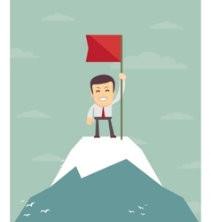 Businessman with flag on a mountain peak vector