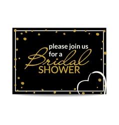 Bridal shower invitation with gold glitter text vector
